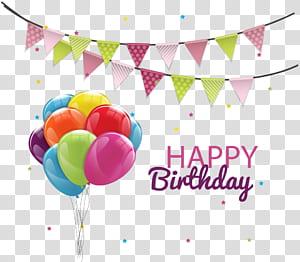 Kue Ulang Tahun Balon Pesta, Balon Ulang Tahun Bendera Tarik, Selamat Ulang Tahun ilustrasi png