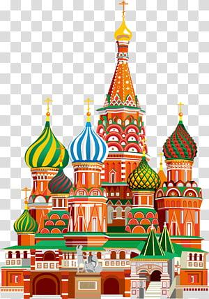 Katedral Kremlin Saint Basils Cathedral Red Square Landmark Ilustrasi, ilustrasi Bangunan Moskow, Katedral St. Basil, ilustrasi Moskow PNG clipart