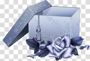 kotak hadiah abu-abu, File Komputer Kotak Hadiah, Kotak Hadiah Biru Besar dengan Mawar Biru png