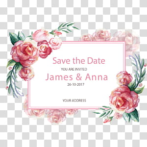 Undangan pernikahan, Hadiah Kartu Pos Kertas, perbatasan yang dilukis dengan tangan romantis, iklan James & Anna png
