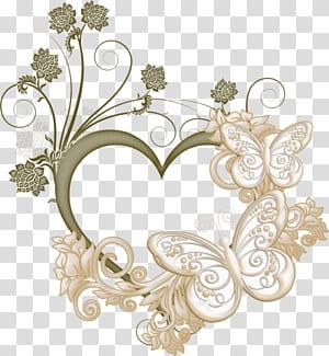 Bingkai hati, Bingkai Cinta Kupu-kupu, ilustrasi bentuk hati kupu-kupu dan bunga coklat png