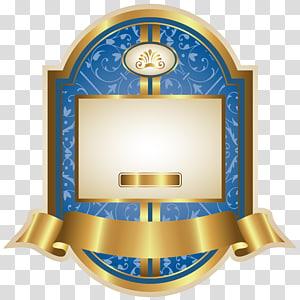 template bingkai biru dan emas, Kertas Grafik, Template Label Mewah Biru PNG clipart