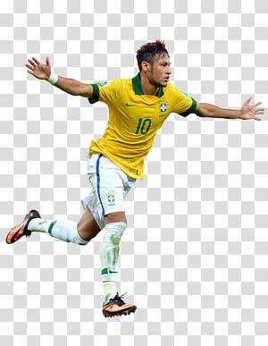 pria yang mengenakan jersey kuning Nike 10, tim sepak bola nasional Brasil 2014 Piala Dunia FIFA Paris Saint-Germain F.C.La Liga, perayaan png