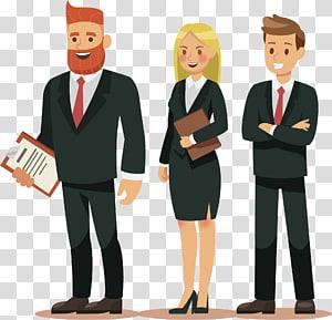 tiga orang mengenakan ilustrasi jas, Ilustrasi Karakter Kartun, Tim kerja PNG clipart