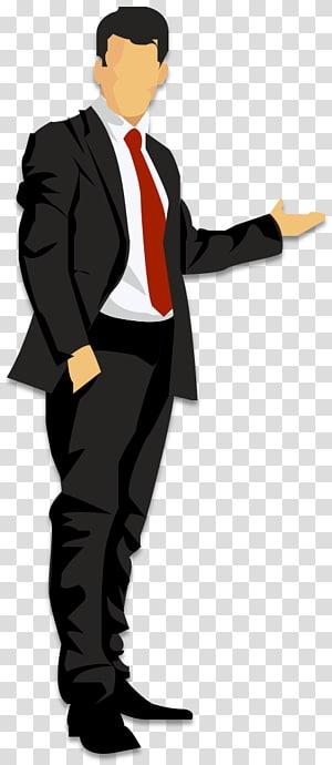 Kartun, pria bisnis Kartun, ilustrasi pria mengenakan jas hitam dengan dasi merah png