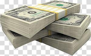 tiga bundel uang kertas 100 dolar AS, Uang Kertas Amerika Serikat uang kertas seratus dolar Uang tunai png
