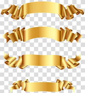 tiga tali coklat, Spanduk Emas, Pita emas png