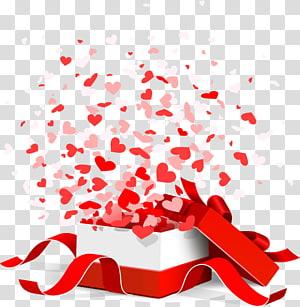 ilustrasi kotak hadiah pink dan putih, Hadiah Valentine, kelopak Hadiah Valentine png