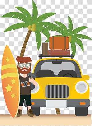 pria dengan papan selancar berdiri di samping ilustrasi kendaraan, liburan tepi laut musim panas PNG clipart