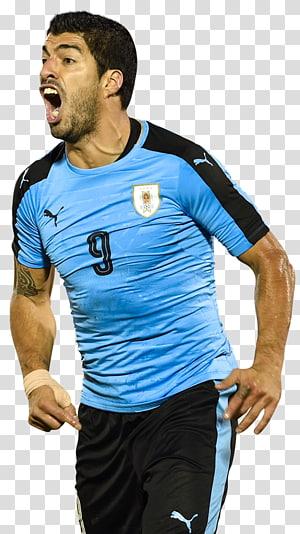 pemain sepak bola yang mengenakan nomor punggung 9 biru, Piala Dunia FIFA 2018 Luis Suárez Tim sepak bola nasional Uruguay Kualifikasi Piala Dunia FIFA, CONMEBOL Piala Cina, Suarez uruguay png