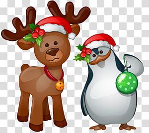 Rudolph Santa Claus Reindeer, Deer dan penguin png