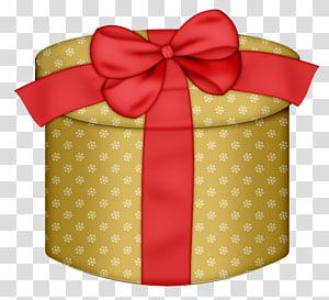 kotak coklat, Kotak pembungkus kado, Kotak Hadiah Bulat Kuning dengan Red Bow png