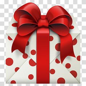 kotak hadiah polka dot putih dan merah, Kotak hadiah Natal, Kotak Hadiah Putih dengan Red Bow png
