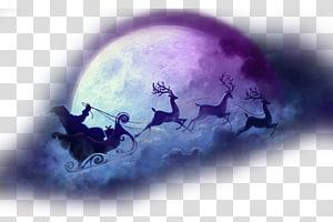 Santa Claus dengan rusa, rusa Santa Claus Malam Natal NORAD Melacak Santa, Natal Natal bulan bahan latar belakang elemen png