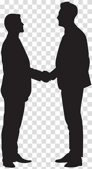 dua orang berjabat tangan, Silhouette Handshake, Men Shaking Hands Silhouette PNG clipart