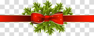 Pita merah Natal Hadiah pita merah, Pita Natal Merah dengan Cabang Pinus, pita merah dan ilustrasi daun hijau png