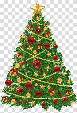 Pohon Natal Santa Claus Natal hiasan ornamen Natal, Pohon Natal Besar dengan Ornamen Merah dan Emas, pohon Natal PNG clipart
