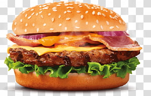 burger dengan ham dan keju, Hamburger Bacon Sushi Pizza Cheeseburger, burger king png