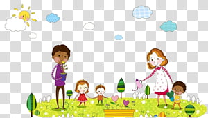 dua wanita menyiram dan menanam bunga, Ilustrasi Anak, Orang Tua dan anak-anak png