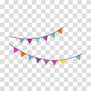 Ikon Pesta Ulang Tahun, Bendera gantung pesta ulang tahun kartun, ilustrasi buntings hitam dan berbagai macam warna png