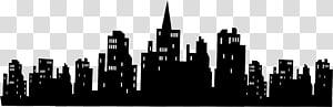 batman gotham city skyline siluet wall decal, city PNG clipart