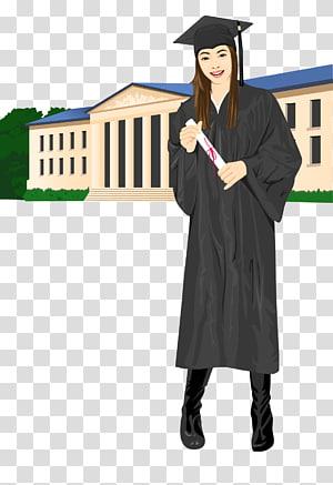 wanita mengenakan ilustrasi gaun akademik, upacara Wisuda Diplom ishi Doktor Estudante, dilukis tangan, memakai bujangan, mahasiswa lulus png