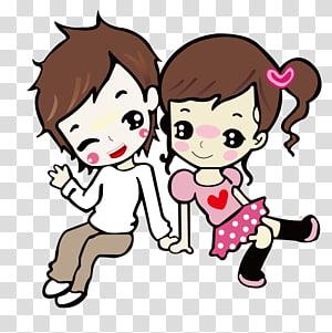 ilustrasi kartun anak laki-laki dan perempuan, Gambar Kartun, Pasangan kartun png