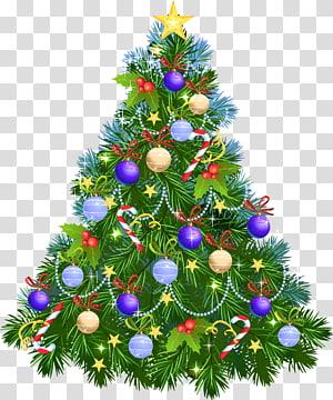 Hiasan pohon Natal, Pohon Natal dengan Ornamen Ungu, ilustrasi pohon Natal hijau PNG clipart