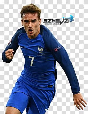 Antoine Griezmann Tim sepak bola nasional Prancis UEFA Euro 2016 Pemain sepak bola Jersey, sepak bola, running man dengan kaus sepak bola Nike biru png