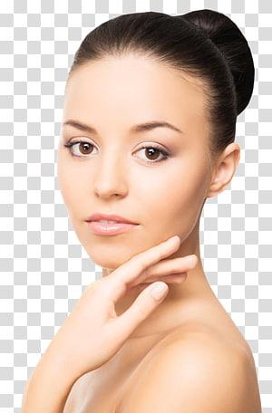 wanita memegang wajahnya, Lotion krim Anti-penuaan Kulit Kerut, Gadis Wajah Cantik PNG clipart