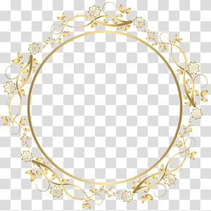 bingkai, Gold Round Floral Border, ilustrasi bingkai bunga round beige png