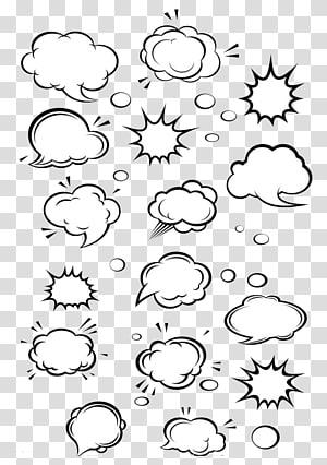 Kartun Pidato balon Komik Awan, kotak dialog, ilustrasi asap berbagai macam putih png