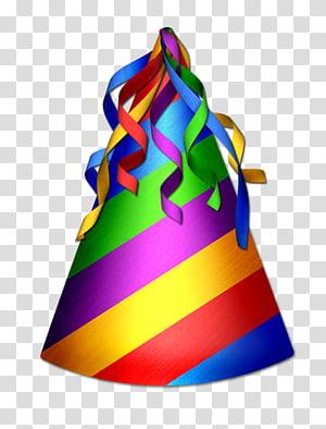 Topi pesta, Topi Ulang Tahun, topi pesta bergaris warna-warni png