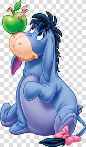 Eeyore Winnie-the-Pooh Winnie the Pooh Piglet Tigger, Eeyore Gratis, Eeyore dengan cacing dalam ilustrasi apel hijau png