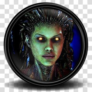 ilustrasi karakter wanita berbingkai bulat hitam, wajah, Starcraft 2 25 png