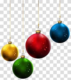 perhiasan kuning, merah, hijau, dan biru, Hari Natal hiasan pohon Natal, Bola Natal PNG clipart