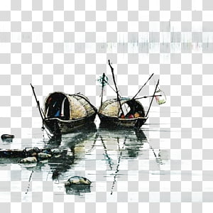 dua kapal abu-abu di badan air, lukisan cat air lukisan Cina lukisan mencuci tinta karya seni, sungai nelayan kecil png