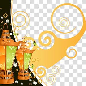 Ilustrasi Ramadan Idul Fitri Ramadhan, pola angin dan lampu hias yang indah, dua lentera oranye dan hijau ilustrasi PNG clipart
