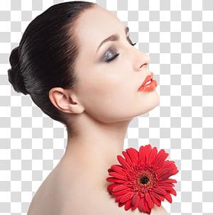 wanita dengan lipstik oranye dan bunga Gerbera merah di bahunya, Model Kosmetik Kulit Wajah, model Bibir PNG clipart