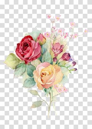 Bunga Cat Air Lukisan Cat Air Rose Art, Bunga Cat Air, karya seni bunga png