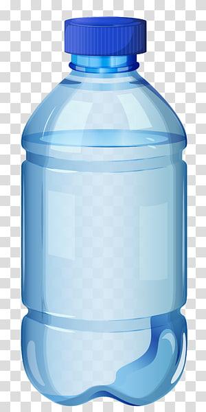 botol bening dan biru diisi dengan cairan bening, botol air, botol air png