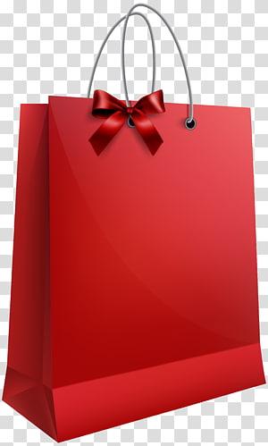 kantong kertas merah, Tas Hadiah, Tas Hadiah Merah dengan Busur png