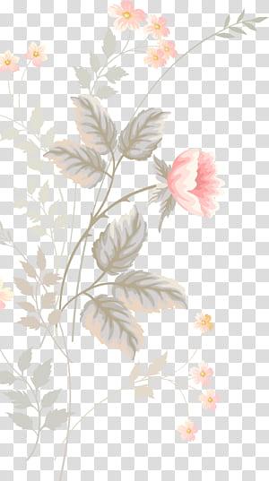 Desain bunga Pola lukisan Cat Air Bunga, Bunga merah muda yang dilukis dengan tangan, dekorasi bunga merah muda dan hijau png