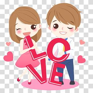 Gambar Cinta Kartun, Pasangan cantik, ilustrasi cowok dan cewek berambut coklat PNG clipart
