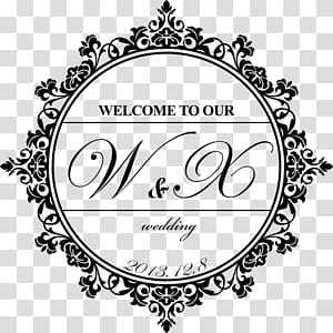 Bingkai kertas praktik perkawinan Islami, pola logo pernikahan hitam, selamat datang di iklan pernikahan W&X kami png