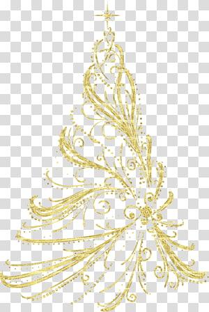 Pohon Natal Ornamen Natal, Pohon Natal Dekoratif Emas, ilustrasi bunga kuning PNG clipart