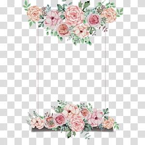 Undangan pernikahan Bunga, papan tema bertema bunga yang dilukis dengan tangan, ilustrasi frame pink rose window png