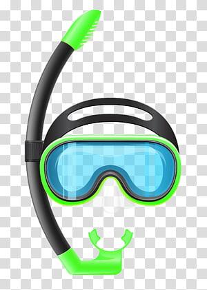 Snorkeling Diving mask Scuba diving, Snorkel Mask, ilustrasi snorkeling hijau dan hitam PNG clipart