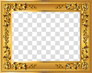 bingkai Emas, Bingkai Emas Deco, bingkai bunga emas persegi panjang PNG clipart