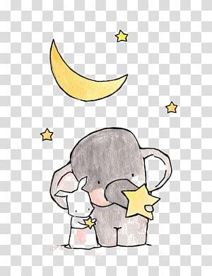 ilustrasi gajah abu-abu, Menggambar Ilustrasi Kartun Gajah, gajah png